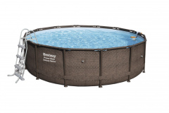 Pool Rack 14FT 427x107 cm Power Steel Deluxe Rattan Series BESTWAY