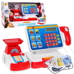 Store cash register + shopping basket, red accessories