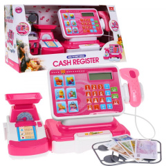 Store cash register + shopping basket, pink accessories